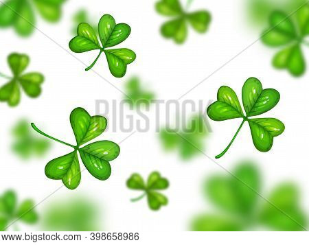 Shamrock On White Background With Blurred Effect. Vector St. Patrick Day Symbol, Cartoon Green Clove