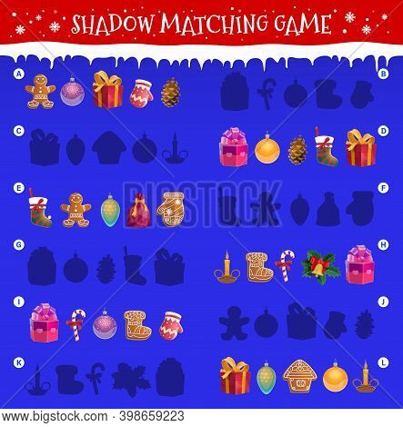 Kids Shadow Matching Game With Christmas Objects. Children Maze Or Riddle With Matching Task. Ginger