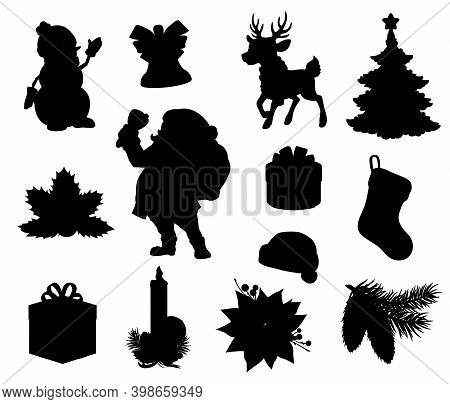 Christmas Holiday Black Silhouettes. Vector Xmas Tree, Gift And Present Boxes, Santa, Snowman And Re