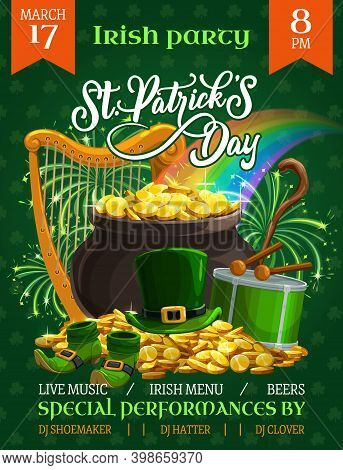 St. Patricks Day Vector Flyer, Cartoon Leprechaun Pot Stand On Gold Pile With Top Hat, Shoes, Drum,