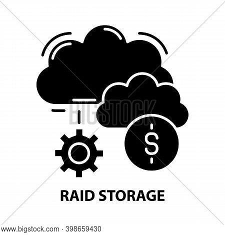 Raid Storage Icon, Black Vector Sign With Editable Strokes, Concept Illustration