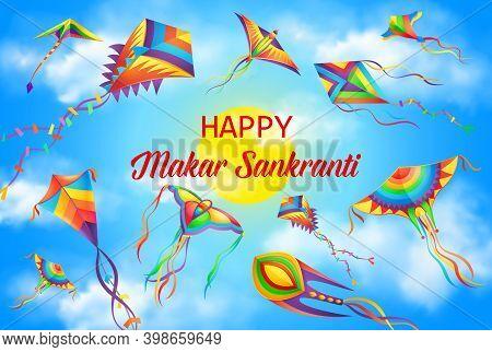 Makar Sankranti Festival, Winter Solstice Hindu Calendar Holiday Poster. Harvest Festival Celebratio
