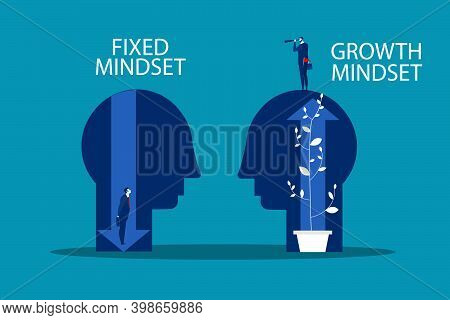 Big Head Human Think Growth Mindset Different Fixed Mindset Concept