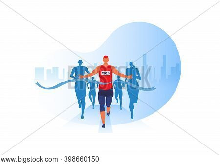 People Running With Clothes On Marathon Race, Athletics Event, Sports Group Jogging, City Background