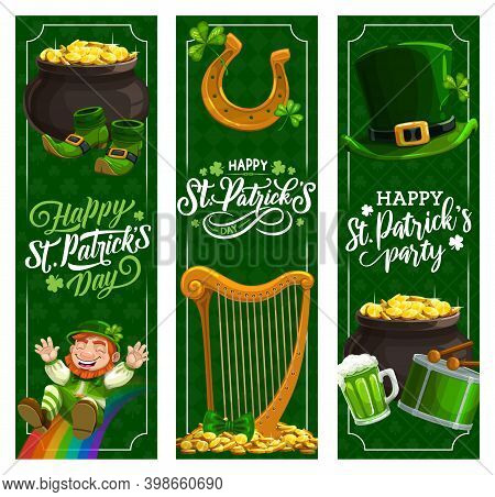 St. Patricks Day Irish Holiday Vector Banners. Patricks Day Green Beer, Hat And Clover Leaves, Lepre