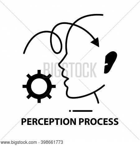 Perception Process Icon, Black Vector Sign With Editable Strokes, Concept Illustration