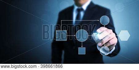Business Process And Workflow Automation With Flowchart. Businessman Pointing Illustration Processin