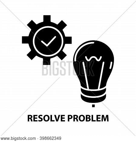 Resolve Problem Icon, Black Vector Sign With Editable Strokes, Concept Illustration