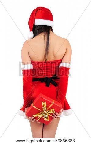 Isolated young christmas girl with gift