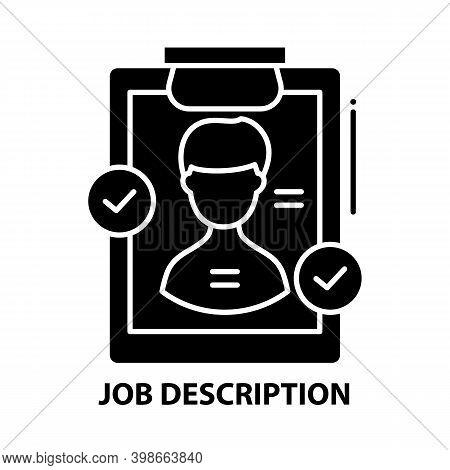 Job Description Icon, Black Vector Sign With Editable Strokes, Concept Illustration