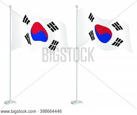 Flag Of Republic Of Korea On Flagpole Waving In Wind. Holiday Design Element. Checkpoint For Map Sym