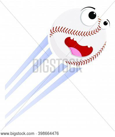 Loud Funny Crazy Baseball Sport Ball Flies With Great Speed After Great Hit. Sport Equipment. Vector