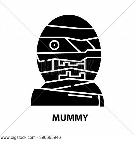 Mummy Icon, Black Vector Sign With Editable Strokes, Concept Illustration