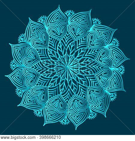 Greenish Blue Color Ornamental Floral Abstract Arabesque Mandala Design With Luxurious Islamic Backg