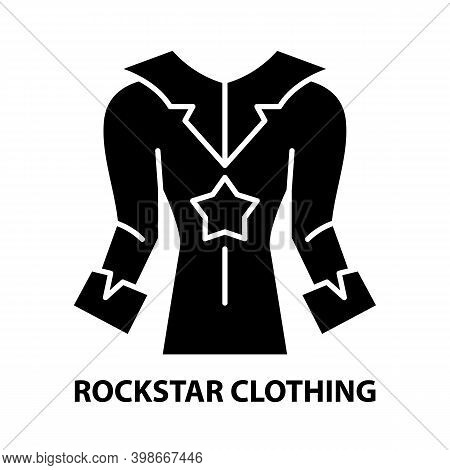 Rockstar Clothing Icon, Black Vector Sign With Editable Strokes, Concept Illustration
