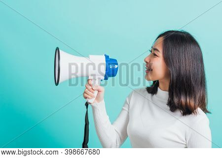 Beautiful Asian Woman Smile She Holding Megaphone Making The Announcement, Female Excited Cheerful A