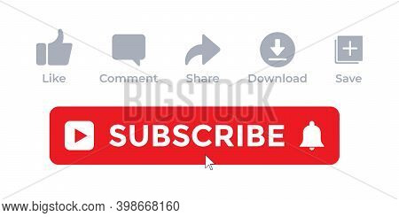 Icon Set For Channel. Subscribe Collection Vector With Cursor Icon In Trendy Flat Style Isolated On