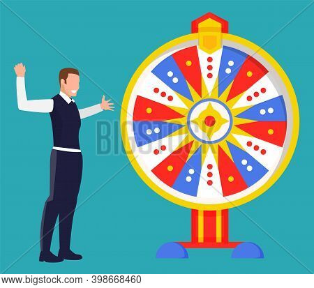 Game Fortune Wheel Concept. Man Playing Risk Game With Fortune Wheel And Lottery. Illustration Of Ca