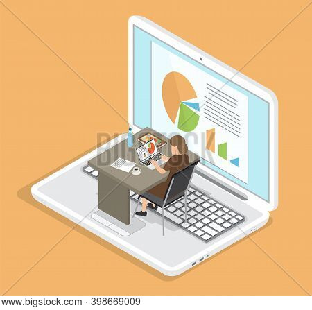 Office Worker At The Table With A Laptop. Businesswoman Working At Workplace Analyzes Statistics Vec