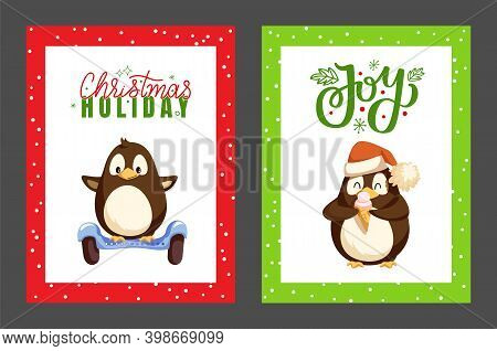 Merry Christmas Penguin Eating Ice Cream Posters Set Vector. Animal With Wings And Smooth Feathers R