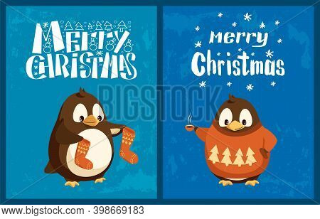 Merry Christmas Penguin Wearing Sweater Winter Vector. Holidays Of Wintertime, Socks And Knitted Clo