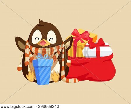 Merry Christmas Penguin Happy Of Presents Gifts On Special Winter Holiday Vector. Animal With Smooth