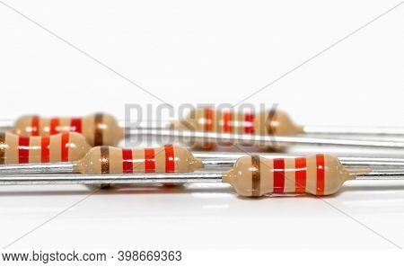Close up shot of several electronic resistors