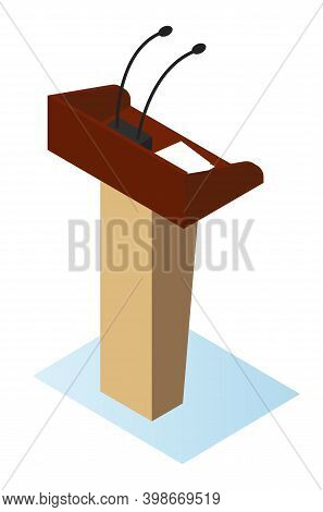 Wooden Podium Tribune Stand Rostrum With Microphones. Flat Vector Illustration Debate Stage And Conf