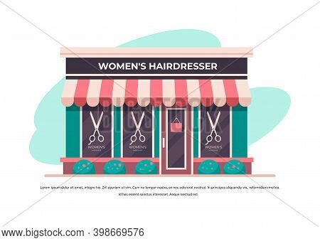 Modern Womens Hairdresser Salon No People Building Facade Front View Barbershop Concept Horizontal C
