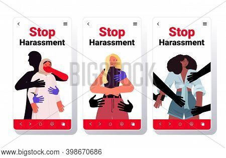 Set Hands Touching Mix Race Women Stop Harassment And Abuse No Sexual Violence Concept Smartphone Sc