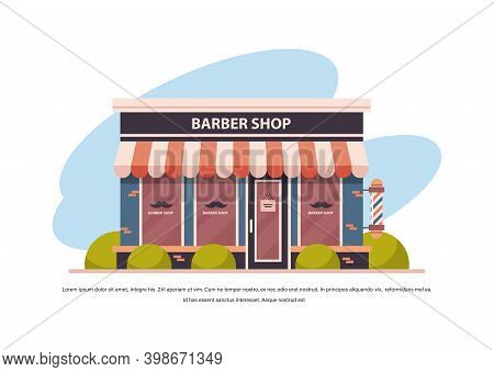 Modern Barber Shop Store Empty No People City Building Facade Front View Barbershop Concept Horizont