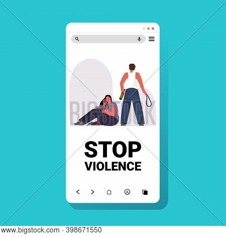 Drunk Husband Punching And Hitting Wife With Daughter Stop Domestic Violence And Aggression Smartpho