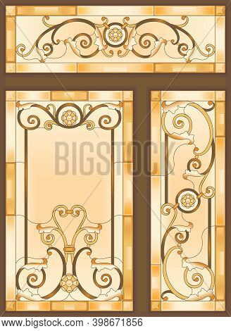 Colorful Stained Glass Window In Baroque Style For Ceiling Or Door Panels. Tiffany Technique. Abstra