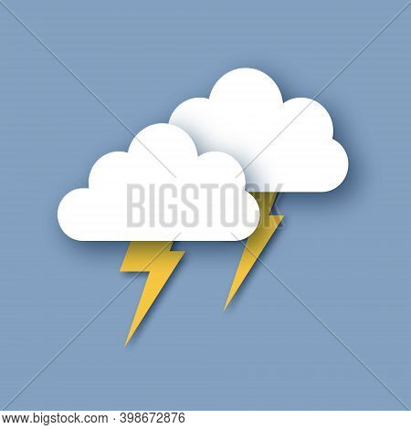 Rain Clouds And Lightening Bolt. Paper Cut Weather. Storm Time.