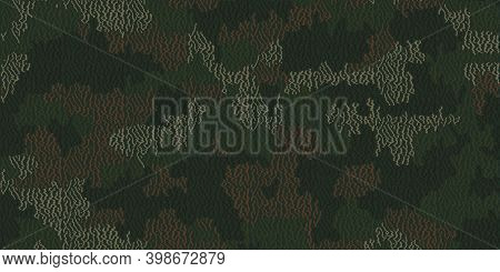 Weave Pattern Thread. Urban Camouflage Textile. Fiber Seamless Camo Texture. Yarn Rough Knit Backgro