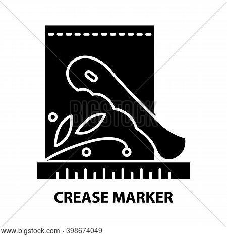 Crease Marker Symbol Icon, Black Vector Sign With Editable Strokes, Concept Illustration