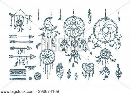 Boho Dreamcatcher With Feathers And Arrows. Big Set With Dreamcatchers Of Different Shape. Vector Il