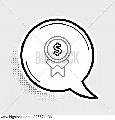 Line Reward For Good Work Icon Isolated On Grey Background. Employee Of The Month, Talent Award, Out