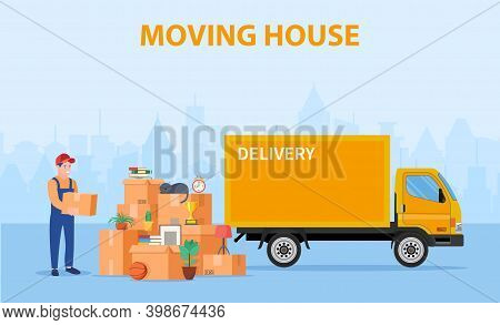 Man With Cardboard Boxes. Delivery Service Concept. Moving House. Pile Cardboard Boxes With Truck On