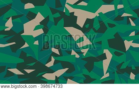 Emerald Green Geometric Camouflage Pattern, Seamless Camo Texture. Military Or Hunting Masking Unifo