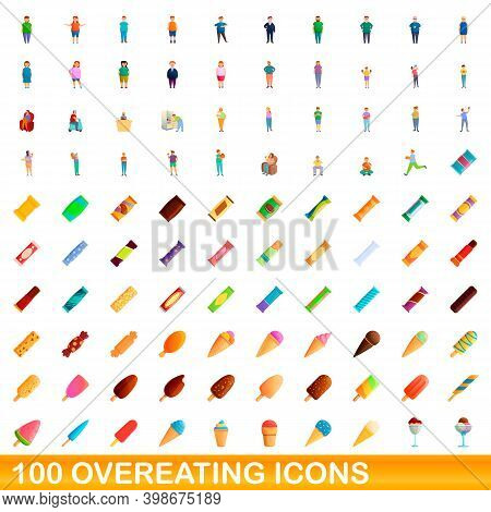 100 Overeating Icons Set. Cartoon Illustration Of 100 Overeating Icons Vector Set Isolated On White