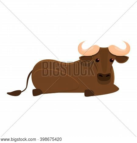 Rest Wildebeest Icon. Cartoon Of Rest Wildebeest Vector Icon For Web Design Isolated On White Backgr