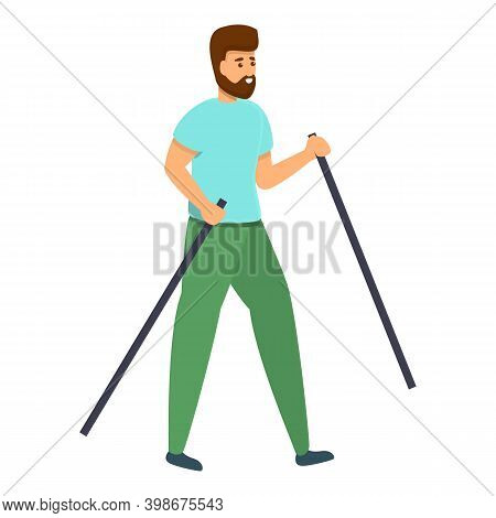 Adult Nordic Walking Icon. Cartoon Of Adult Nordic Walking Vector Icon For Web Design Isolated On Wh