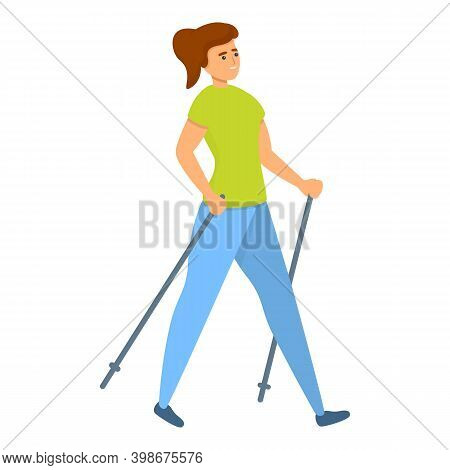 Girl Nordic Walking Icon. Cartoon Of Girl Nordic Walking Vector Icon For Web Design Isolated On Whit