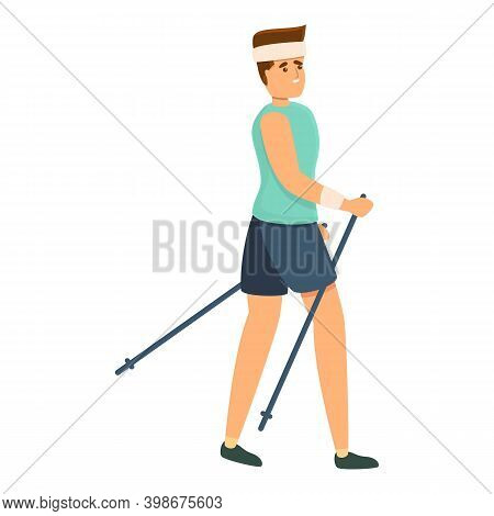 Sport Nordic Walking Icon. Cartoon Of Sport Nordic Walking Vector Icon For Web Design Isolated On Wh