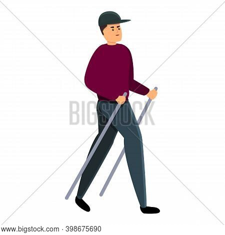 Climb Boy Nordic Walking Icon. Cartoon Of Climb Boy Nordic Walking Vector Icon For Web Design Isolat