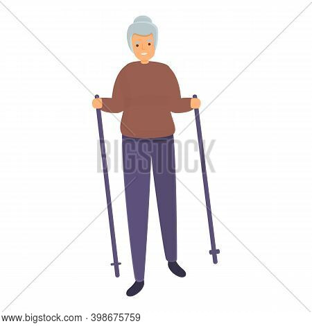 Grandmother Nordic Walking Icon. Cartoon Of Grandmother Nordic Walking Vector Icon For Web Design Is