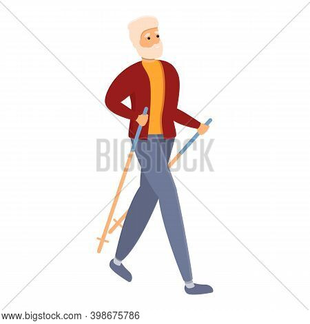 Tourism Nordic Walking Icon. Cartoon Of Tourism Nordic Walking Vector Icon For Web Design Isolated O