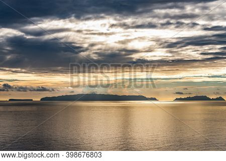 Sunset View Of Rocky Cliffs Clear Water Of Atlantic Ocean At Ponta De Sao Lourenco, The Island Of Ma