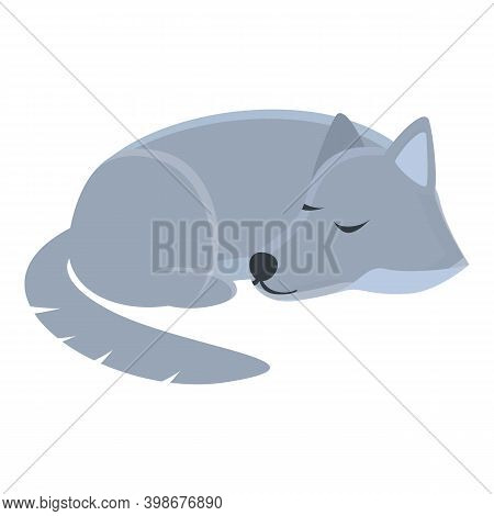 Wolf Sleeping Icon. Cartoon Of Wolf Sleeping Vector Icon For Web Design Isolated On White Background